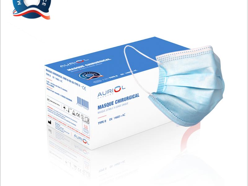 Masque Chirurgical 3 plis Jetables Fabriqué en France Type II